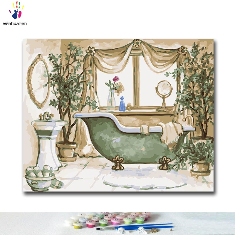 DIY Coloring Paint By Numbers Bathroom Furniture Paintings By Numbers With Kits 40x50 Framed
