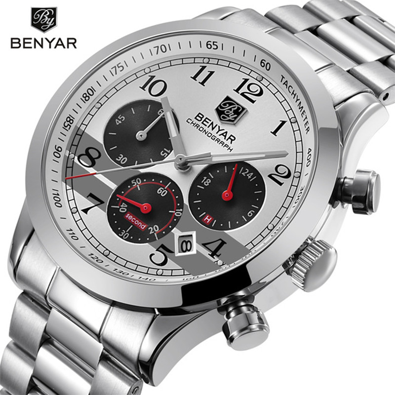 Luxury Men's Quartz Watch BENYAR Top Brand Military Men Stainless Steel Watch Casual Fashion Waterproof Clock Relogio Masculino все цены