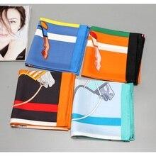 Шелковый шарф из 100% твила в высоком стиле, хиджаб, шарфы для женщин, модная шаль, платок