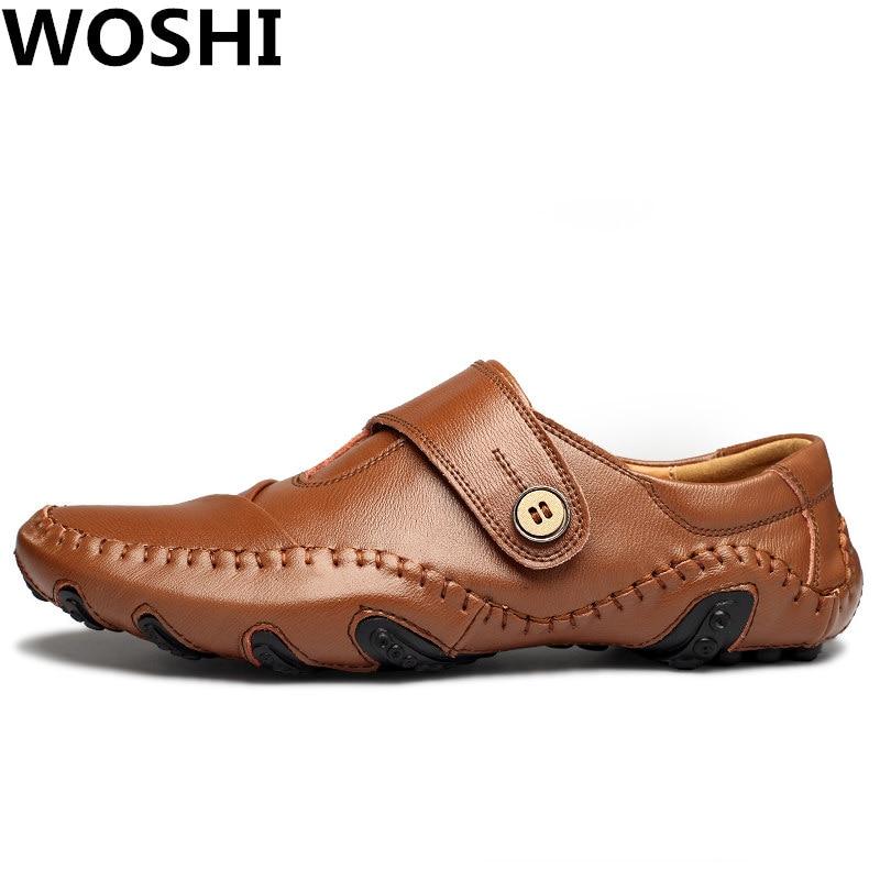 Divat British Style valódi bőr Causal Shoes férfi Divat Slip On - Férfi cipők