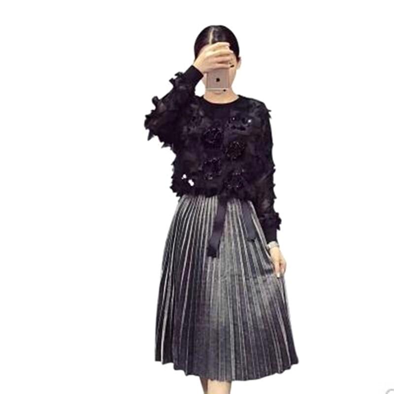 2 pieces set NEW 2017 Women Clothing Set Large Size Spring Autumn Long Sleeve Black Sequins