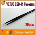 Free shipping ePacket !!! 20pcs Vetus ESD-11 High Quality Anti Static Tweezers ESD 11 Stainless Steel Tweezers