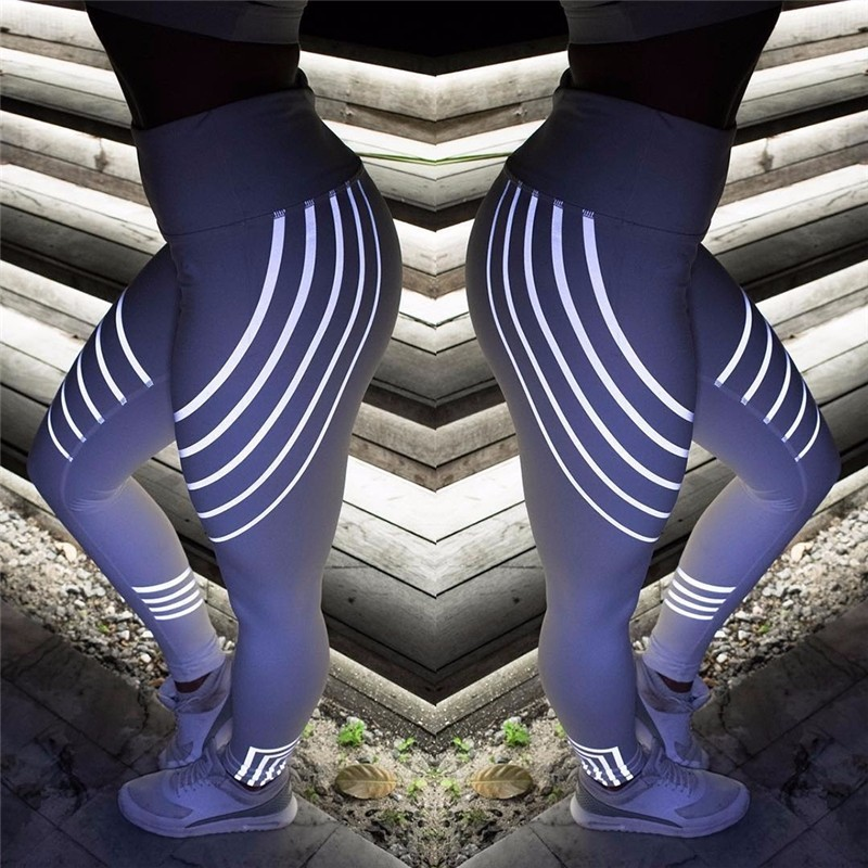 New Women Yoga Pants Fitness Sports Leggings Running Gym Stretch High Waist Breathable Glowing Trousers 4