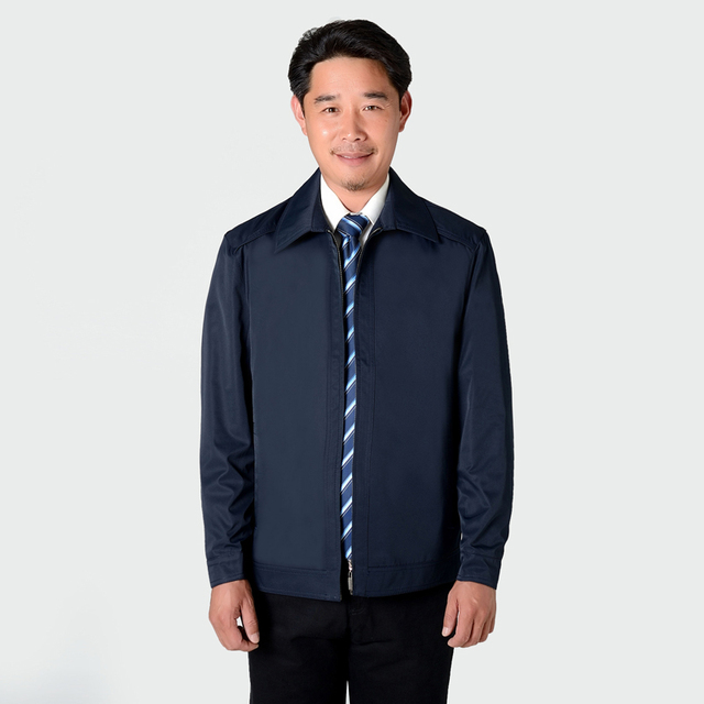 Middle Aged Men Casual Lightweight Jackets Beige Blue Coat For ...