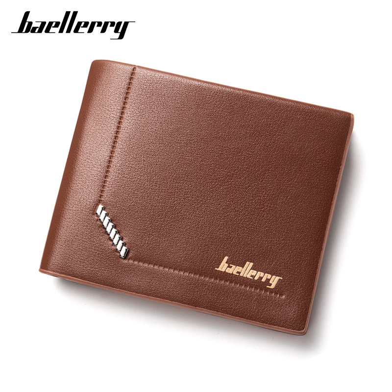 все цены на New Design Baellerry Men PU Leather Short Wallet Money Clips Coin Cash Purse Male Pocket Pochette Clutch Bag Card Holder