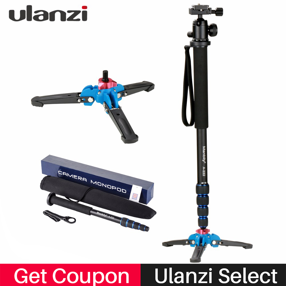 Ulanzi Professional Aluminium Camera Tripod 65inch 5 Sections Manbily Video Monopod for Canon Nikon DSLR Gopro 6 Action Camera