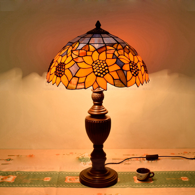 Aliexpress buy hot sale restaurant lighting fashion tiffany hot sale restaurant lighting fashion tiffany table lamp handmade stained glass sunflower led table lamp aloadofball Gallery