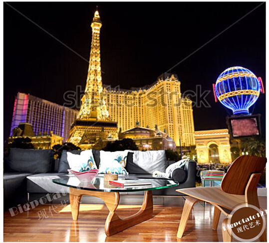 Custom photo wallpaper, Las Vegas Strip at night large mural vinyl wallpaper Papel  de parede for the living room TV wall calve cl 4627