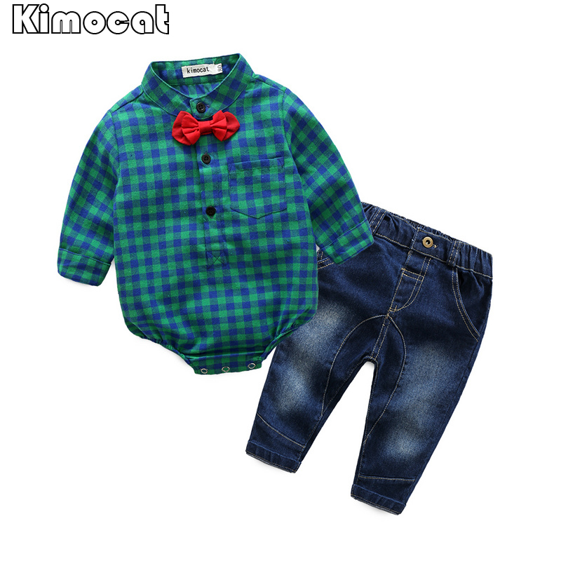 Infant Newborn Baby Boy Boy Clothes Long SleeveB Gentleman Rompers +pants Suit Kids Boy Clothing Set kids clothes 24