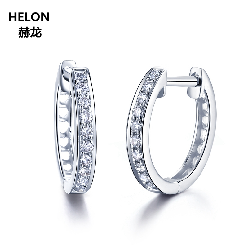 2mm Width 14kk Solid White Gold Hoop Earrings for Women Earrings AAA Graded Cubic Zirconia CZ Party Engagement Wedding Jewelry 2018 rose color high polished hoop earrings paved with aaa rainbow colorful cubic zirconia for women girl wedding cheap jewelry