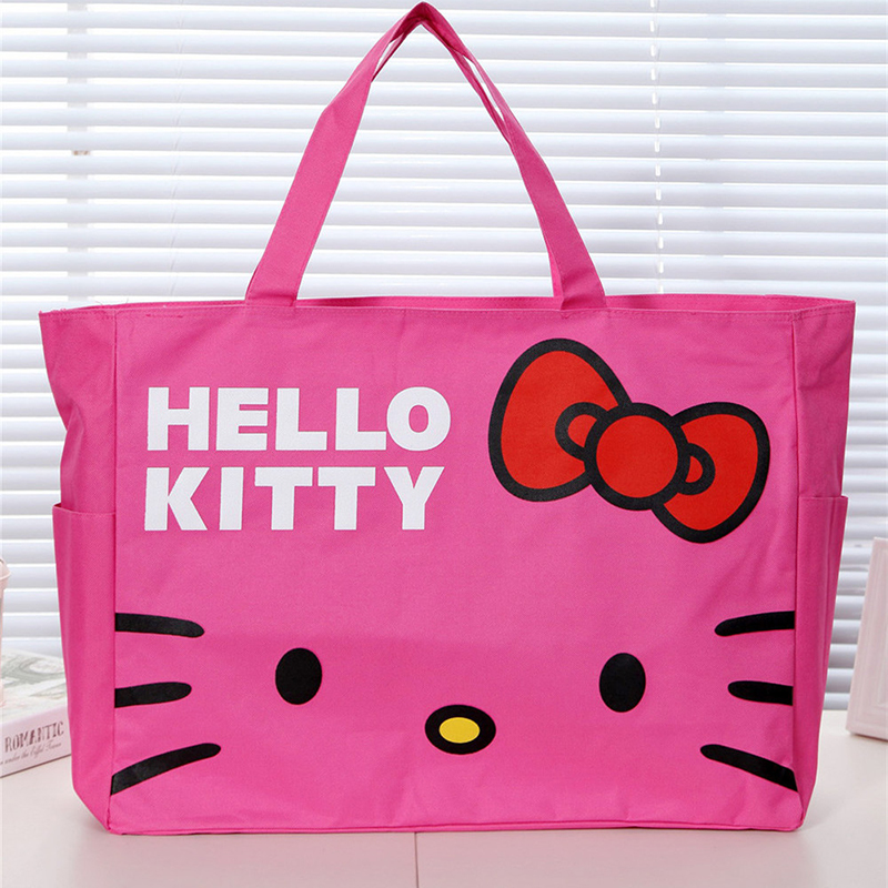 Cute Hello Kitty Handbag Girls Womens Travel Messenger Bags Dual-use  Organizer Shoulder Accessories Supplies Products valise 915c4bf8f0bfd