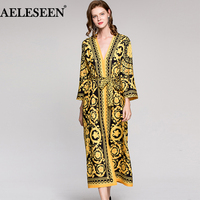 Vintage Runway Dress Leopard Print 2018 Spring Fashion Full Sleeves Belt V Neck Ethnic Muslim Printed