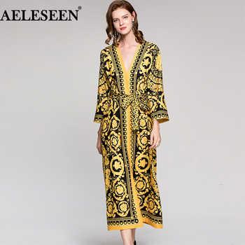 Vintage Runway Dress Leopard Print 2018 Spring Fashion Full Sleeves Belt V Neck Ethnic Muslim Printed Slim Long Loose Dress - DISCOUNT ITEM  12% OFF All Category