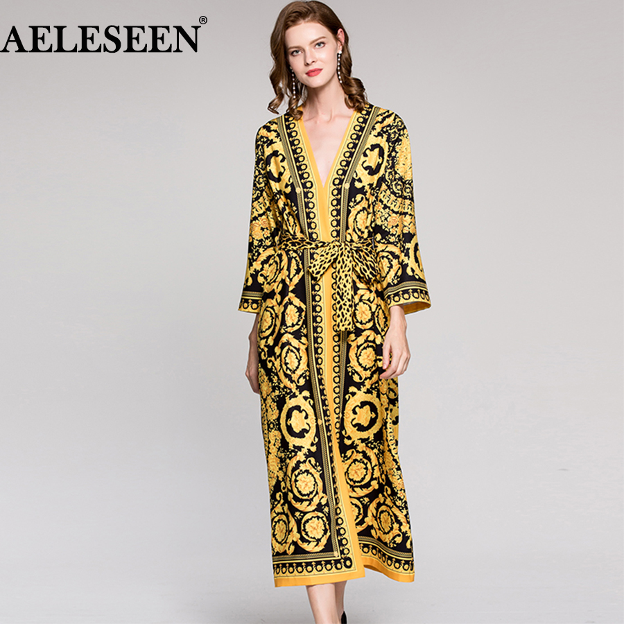 Vintage robe de piste imprimé léopard 2018 printemps mode manches longues ceinture col en V ethnique musulman imprimé Slim longue robe lâche