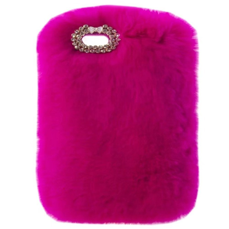 New Super Deluxe Luxury Bling Diamond Bowknot Fluffy Winter Warm Furry Fluffy Beaver Rex Rabbit Fur Case For Apple iPad 6/Air 2-in Tablets & e-Books Case from Computer & Office    1