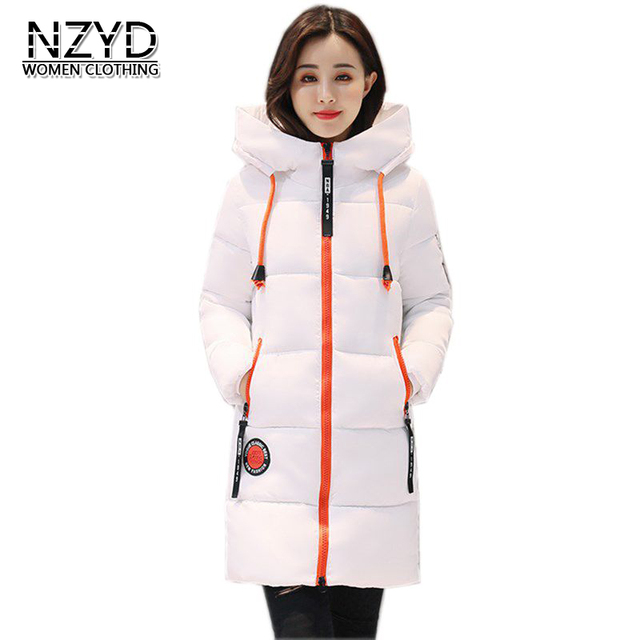 Women parkas 2017 New Fashion Winter Hooded Thick Warm Medium long Down Cotton Coat Long sleeve Slim Big yards Coat LADIES278