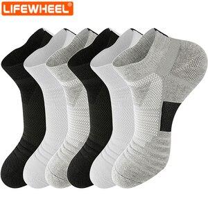 Image 1 - LifeWheel erkek çorapları spor pamuk çorap ter nefes Deodorant havlu alt uzun tüp kısa çorap 6 çift/grup