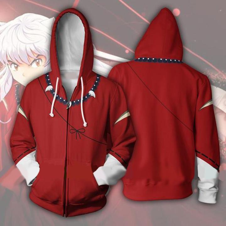 Anime Inuyasha 3D Red Garment Outfit Sweatshirts Men Women Hoodies Zipper Coat Jacket Uniform Daily Cos Costume Cosplay New