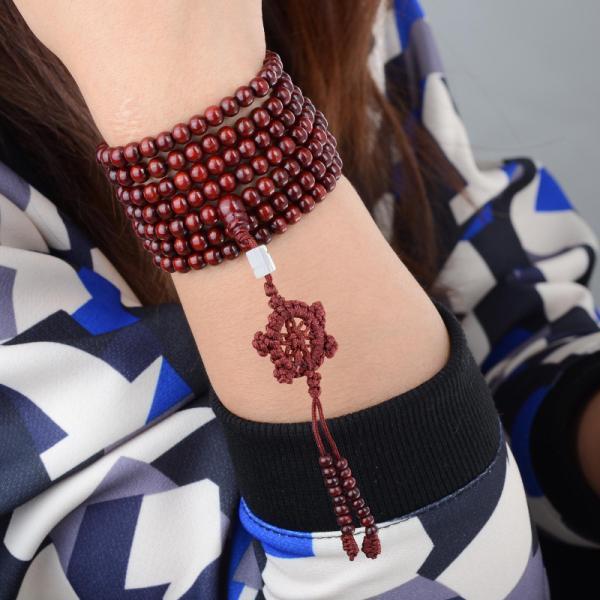 Red Wood Beads Bracelet Men/Women 5mm/6mm Buddhism 216Pcs Wooden Rosary Bodhi Sandalwood Prayer Beads Tibetan Mala Bead Bracelet 11
