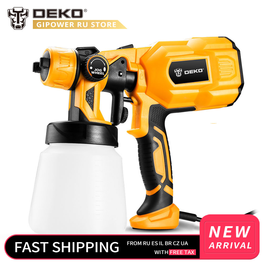 DEKO DKSG55K1 220V Handheld Spray Gun Paint Sprayers 550W High Power Home Electric Airbrush Easy Spraying 3 Nozzle