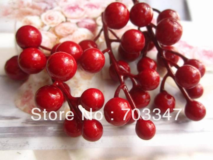 (20pcs/lot) Artificial Berries Christmas Berry Cluster In Red Diy Crafts Floral Fillers For Wreath Christmas Decoration Fruit