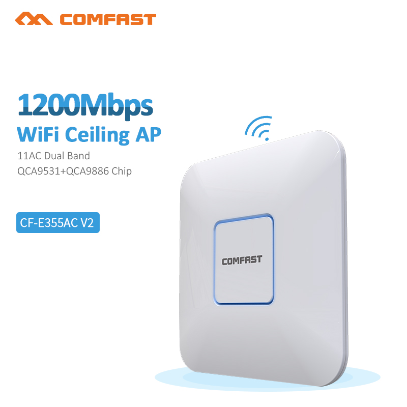 Comfast Indoor Ceiling 1200M 11ac 2.4G/5GHz Wireless WiFi AP Access Point WiFi Repeater Extender Router 48v PoE Adapter open wrt