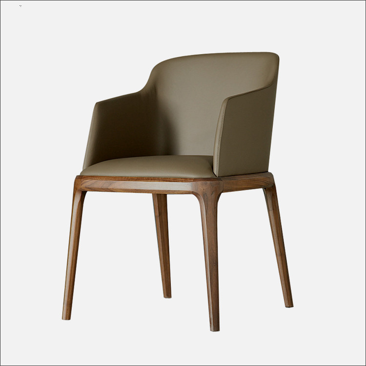 Modern Classic <font><b>Chair</b></font> Armchair Leather Upholstery Cushion Seat Solid Ash Wood Living Room Furniture Modern <font><b>Accent</b></font> Side Arm <font><b>Chair</b></font>