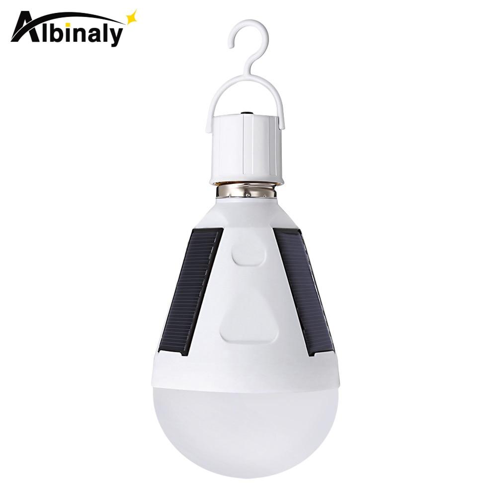 Albinaly 7 W 12 W LED Solar Power Lumière Portable LED Solaire Lampe Luminaria Panneau À Énergie Solaire En Plein Air Lumière Solaire De Jardin Camping Tente