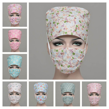 Unisex Printed Scrub Cap Masks Nurse Doctor Surgical Hospital Adjustable Medical Caps Scrub Lab Clinic Dental Hat