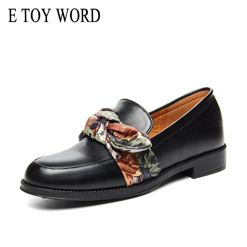 E TOY WORD Satin Bow Oxford shoes for women round Toe Patent Leather Women Flats Casual Soft Slip on Shoes Woman Size 40 new round toe slip on women loafers fashion bow patent leather women flat shoes ladies casual flats big size 34 43 women oxfords