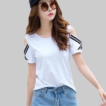 shintimes Women Off Shoulder T Shirt Summer Tshirt White Short Sleeve 2019 Black Top Casual Cotton Korea Fashion Tee Femme