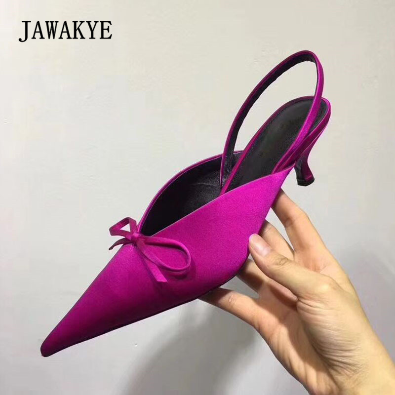 2018 Rosy Red Luxury Satin Strange Heel Sandals Women Pointed Toe Bow Knot Pumps Femme Muller Shoes Woman 2018 Rosy Red Luxury Satin Strange Heel Sandals Women Pointed Toe Bow Knot Pumps Femme Muller Shoes Woman