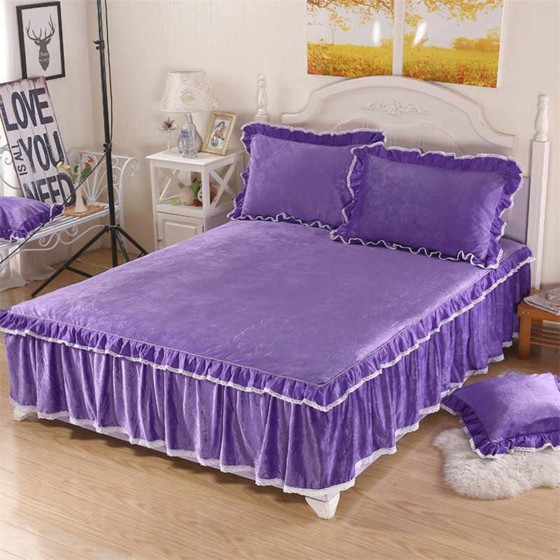 Фиолетовый кристалл бархат домашний текстиль постельный комплект из 3 предметов постельный комплект пружинная Юбка Тип простыня комплект + покрывало для кровати