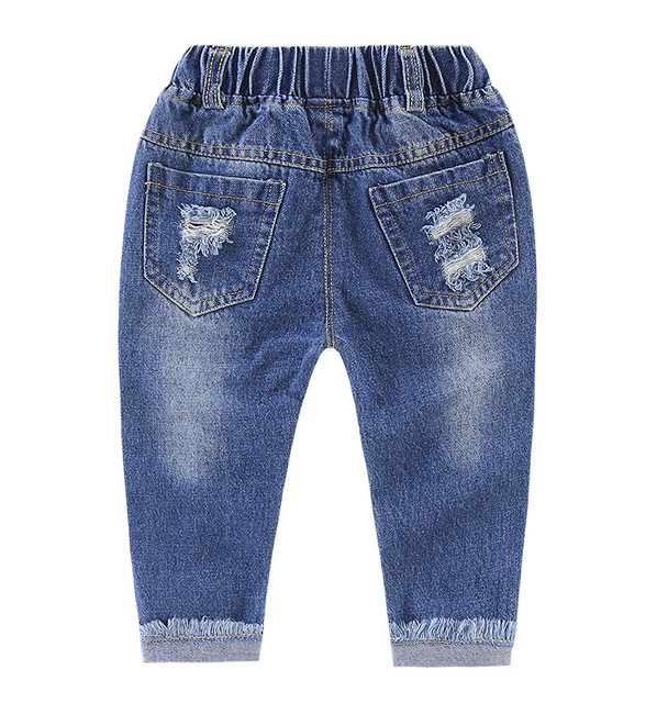 ACE LOVE Toddler Children Boys Girls Clothes Jeans Spring Autumn 2018 Elastic Waist Ripped Children Boys Clothing Age 1-8