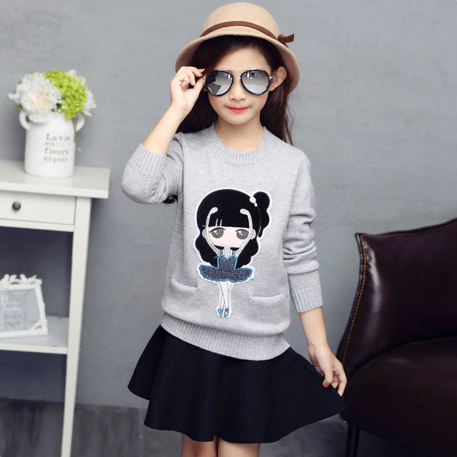 2016 Lovely Baby Girls Sweaters Knitted Warm Cotton Children Coats Sweaters School Style Kids Clothing For Girls Dress Winter