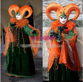 Hot Sell Custom Made Venice Carnival Pumpkin Orange Costumes For Italy Traditional Stage Performance Include Hat