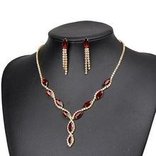 Fashion Moroccan Charm Women Gold Jewelry Set Red Crystal Necklace Earrings New Year Party Gifts Jewellery Accessories(China)