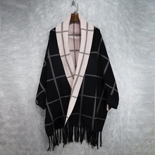 2016 women's color block plaid tassel wool outerwear  female cap