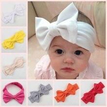 Yundfly Cotton Elastic Newborn Headband Bowknot Hair Band Children Infant Headwraps Bandeau Bebe