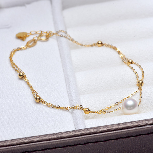 18k Gold Bracelet with White Akoya Pearl 3
