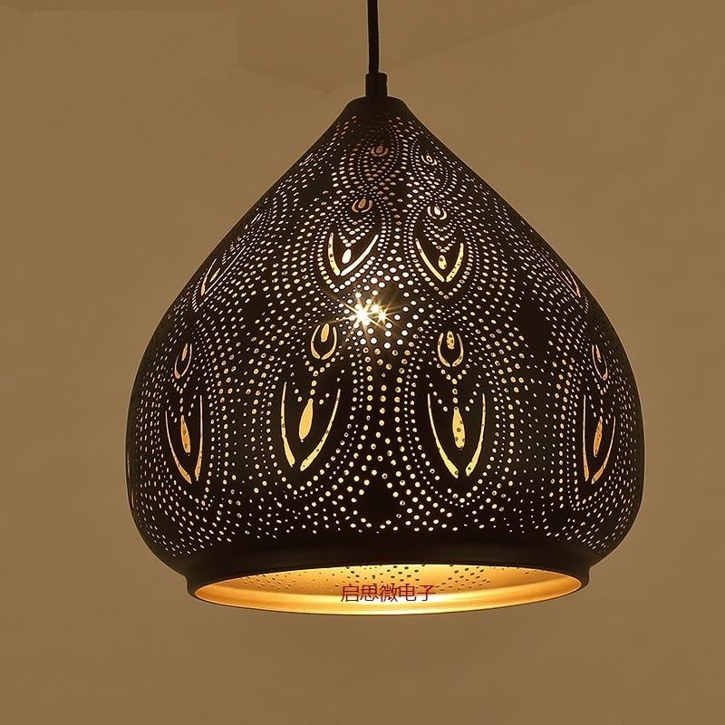 Suspension Vintage industrielle nordique rétro lumières fer abat-jour loft à travers-sculpté lampe métal cage salle à manger campagne