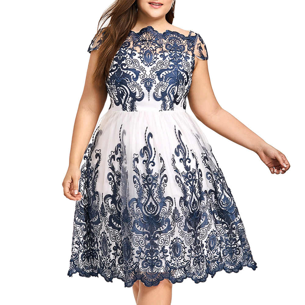 ... Gamiss Woman Plus Size Lace Scalloped Tulle Dress Boat Neck Short  Sleeves Dresses Robe Female Clothes 80b9a838e74c