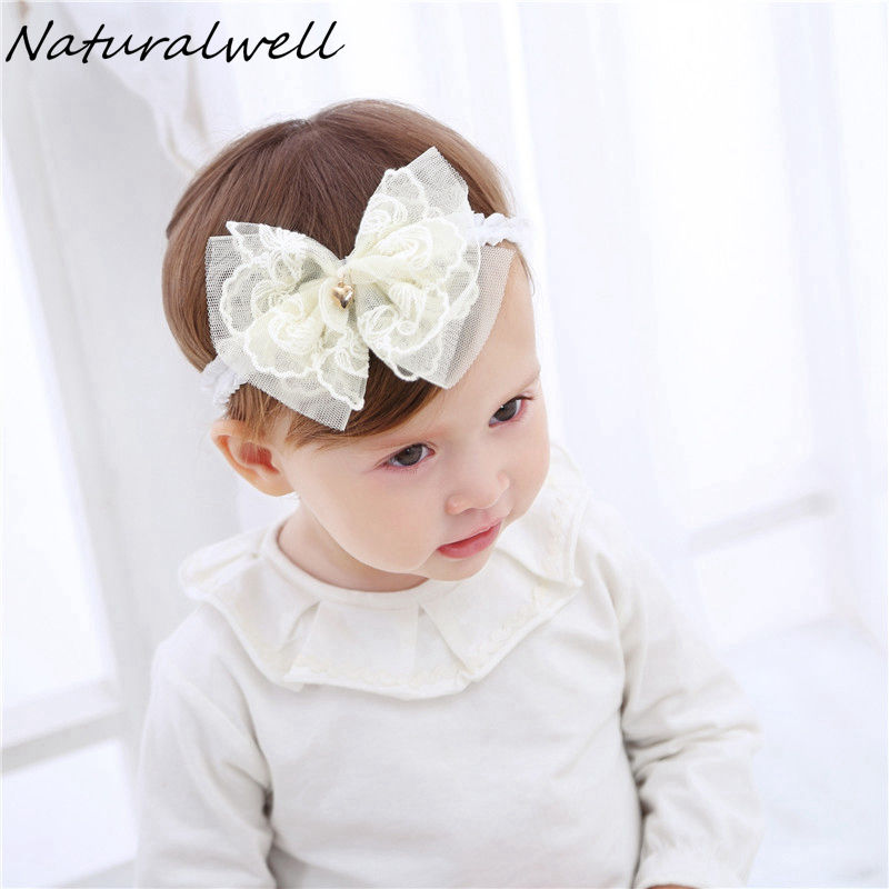 Naturalwell Lace Baby Flower Headband Chic Flower Head Bands Girls Headwear Hair Bow for Children Kids Hair Accessories HB042 jrfsd 2017 fashion colors pattern bow headband cotton hair accessories for girls kids headwear flower elastic hair bands