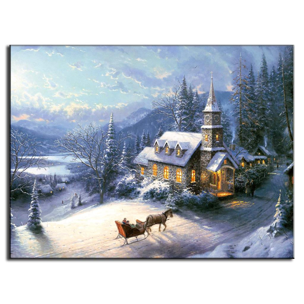 Free Shipping Oil Canvas Painting design landscape New Arrival Mediterranean Winter Home