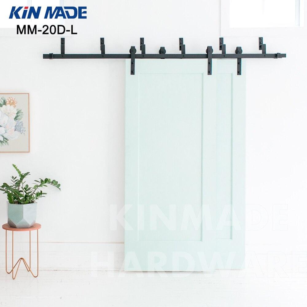 KIN MADE MM20D L Bypass double panel sliding barn wood font b closet b font door