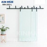KIN MADE MM20D L Bypass double panel sliding barn wood closet door rustic black hardware