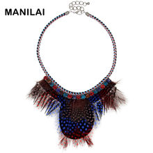 MANILAI Women Multicolor Feather Necklace Indian Vintage Collar Rope Rivet Tassel Chokers Statement Necklaces Maxi Jewelry(China)