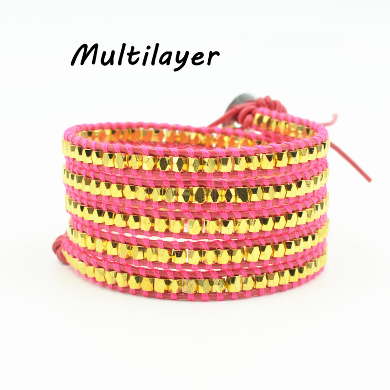 Multilayer Plating gold copper beads on genuine leather Charming bracelet for women Christmas gift