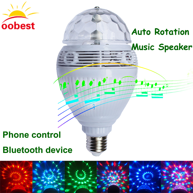 OOBEST Smart Speaker bluetooth E27 110V/220V LED RGB Light Music Bulb Lamp lampada Color Changing Auto Rotation christmas lights smart bulb e27 led rgb light wireless music led lamp bluetooth color changing bulb app control android ios smartphone