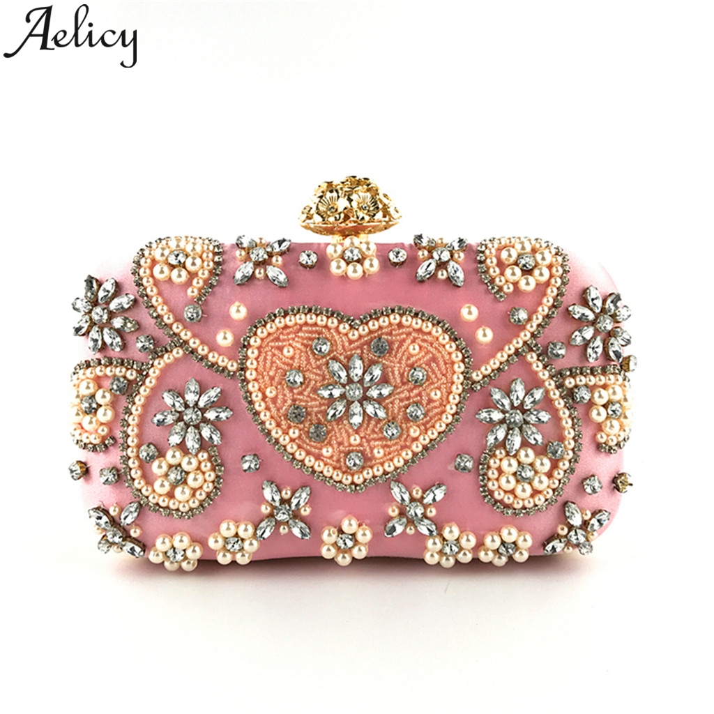 Aelicy Luxury Handbags Beaded-Clutch Crossbody-Bags Crystal Evening-Chain Shoulder Fashion Women title=